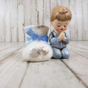 "Enesco Imports Japan 4"" White/Blue Vintage Ceramic"